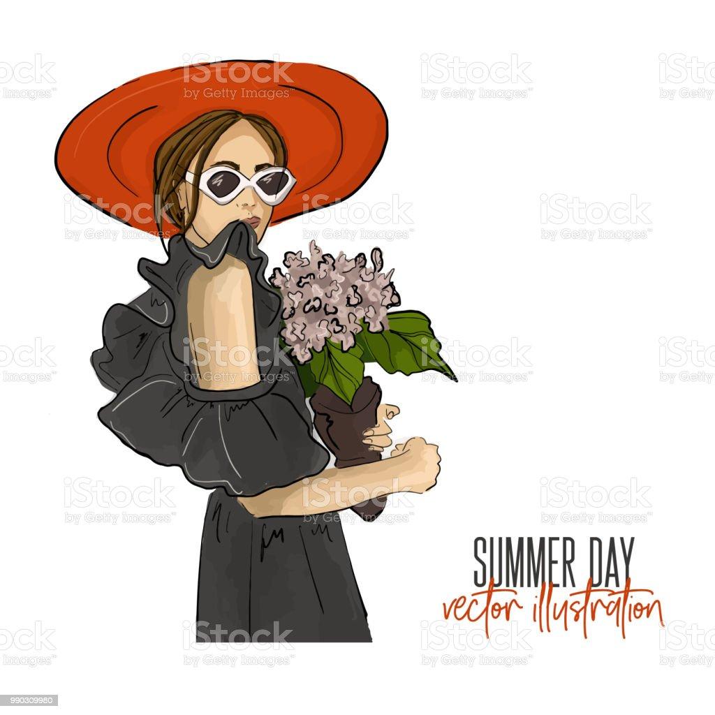 Mädchen Mit Blumevektorillustration Romantische Stimmung Fashion ...