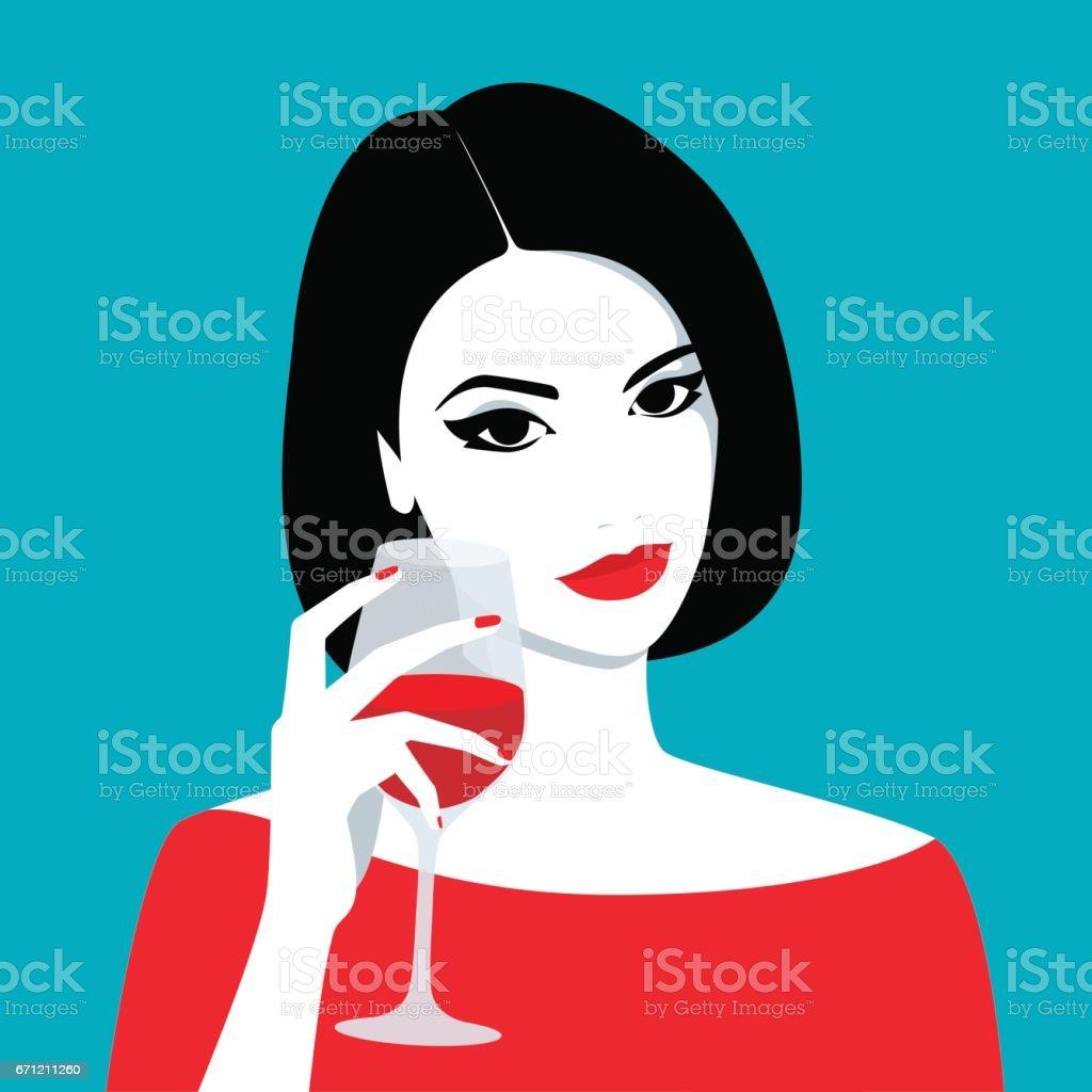 Girl holding glass of wine vector art illustration