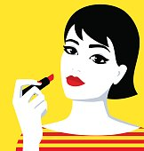 Vector portrait of the beautiful young girl with red lips holding lipstick