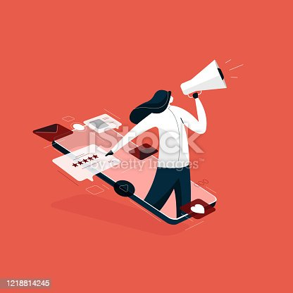 girl holding megaphone for Digital marketing, rating and feedback illustration, Digital business advertising strategies vector concept