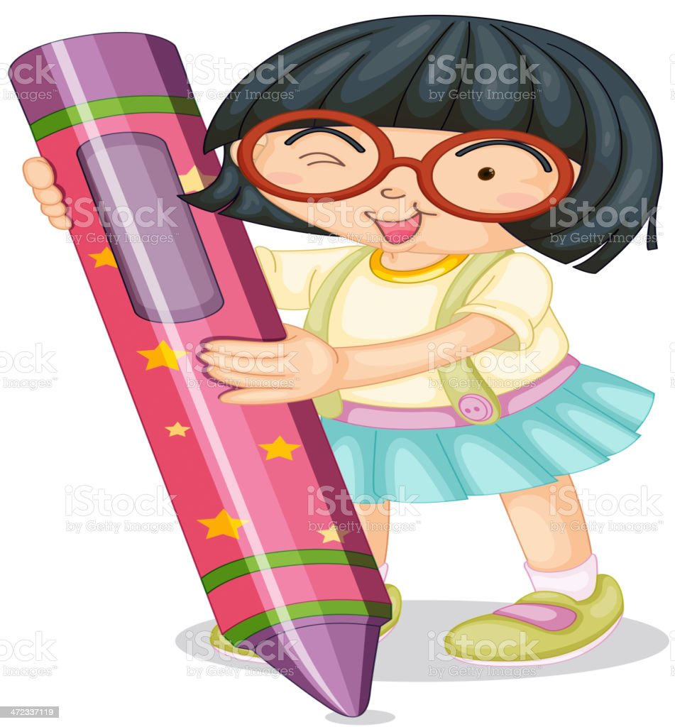 girl holding pencil royalty-free stock vector art