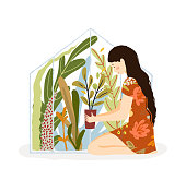 Glasshouse and Woman sitting with flowerpot and many plants in greenhouse. Loving gardening lady happy with flowers. Vector flat artistic illustration.