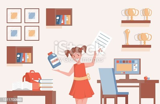 istock Girl holding school test with A plus result and plastic bottle with vitamins vector flat cartoon illustration. 1311700985