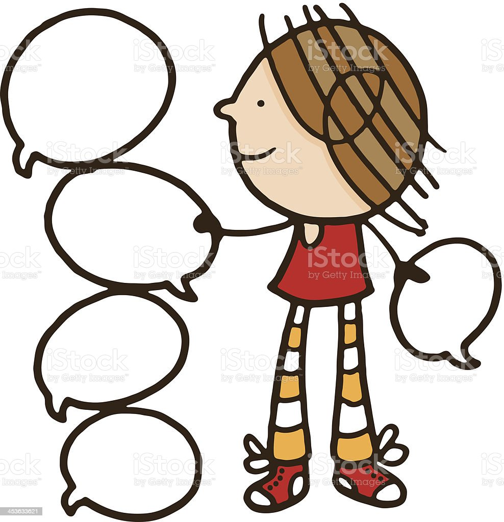 Girl holding speech bubbles royalty-free stock vector art