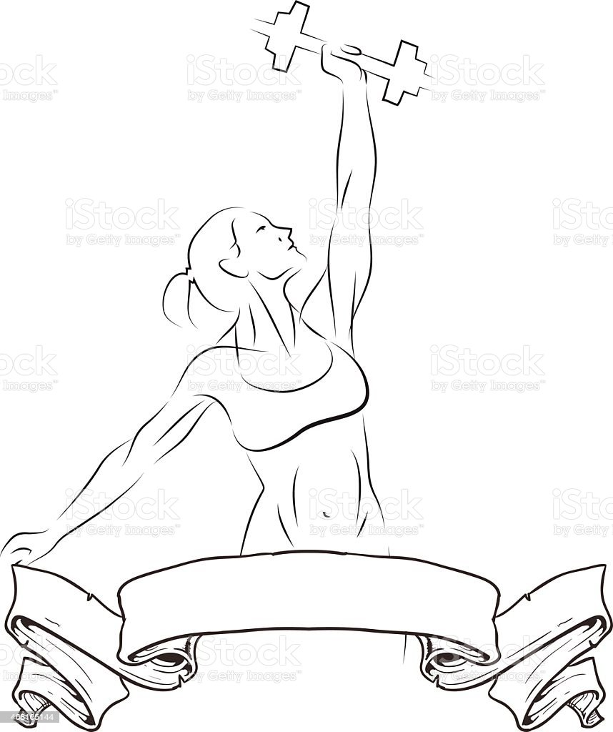 Girl holding weights. vector art illustration