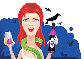 vector illustration of girl holding wine bottle and glass