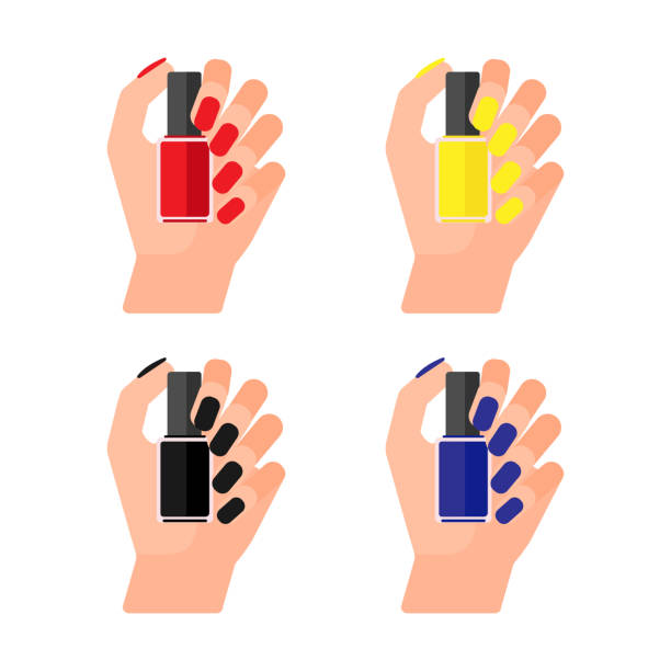 Girl holds bottle of varnish in her hand. Female hands with nail polish. Coat your fingernails with red, yellow, black, blue laquer. Vector illustration on white background Female hands with nail polish. Coat your fingernails with varnish. Vector illustration white nail polish stock illustrations