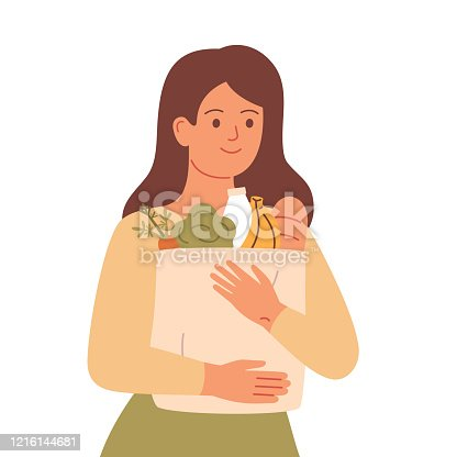 Girl holds grocery bag with natural products. Woman made food supplies.