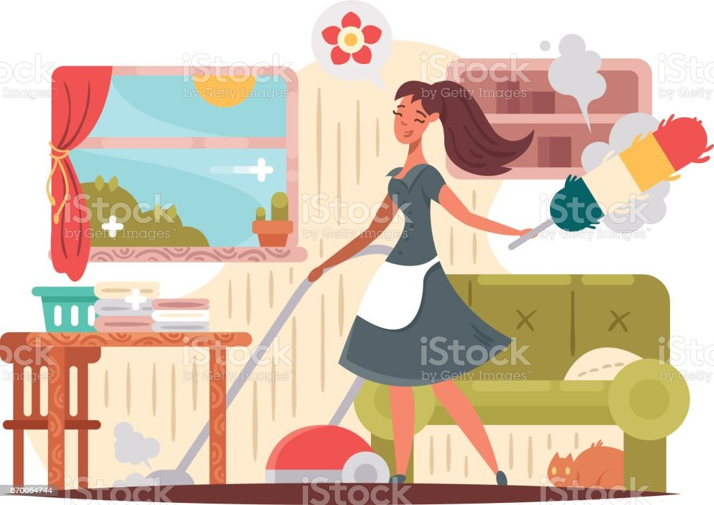 Girl housekeeper cleans apartment