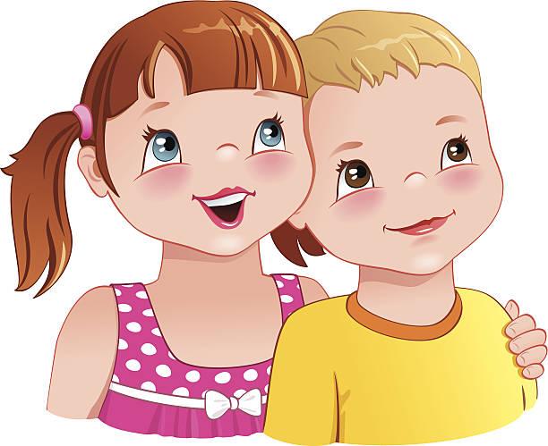 ilustrações, clipart, desenhos animados e ícones de garota abraçar um menino bonito sorrindo-crianças - irmã
