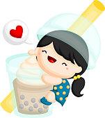 a vector of a girl hugging a giant bubble tea