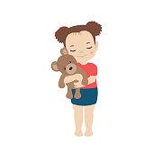Girl hugging toy cute bear