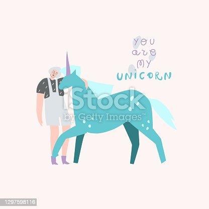 Girl hugging unicorn. Handwritten text: you are my unicorn. Vector template