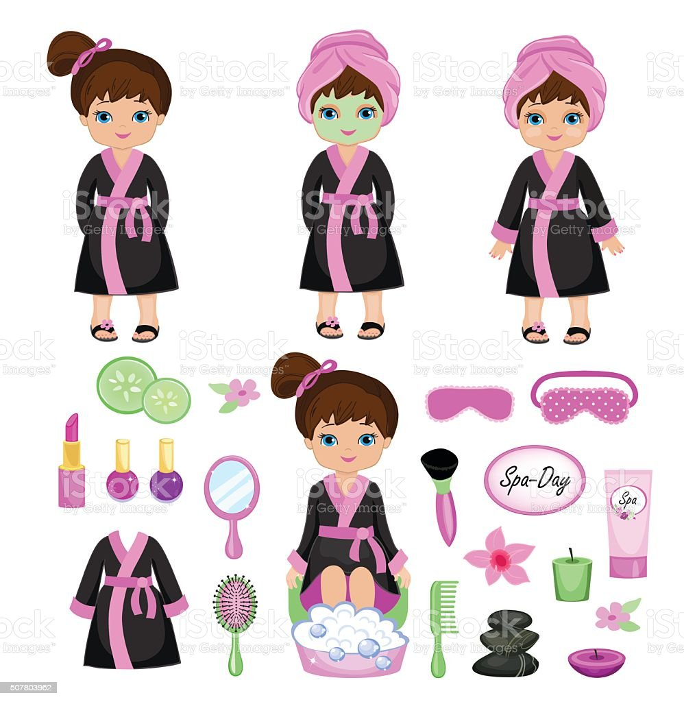 Girl in a black robe takes spa treatments. vector art illustration