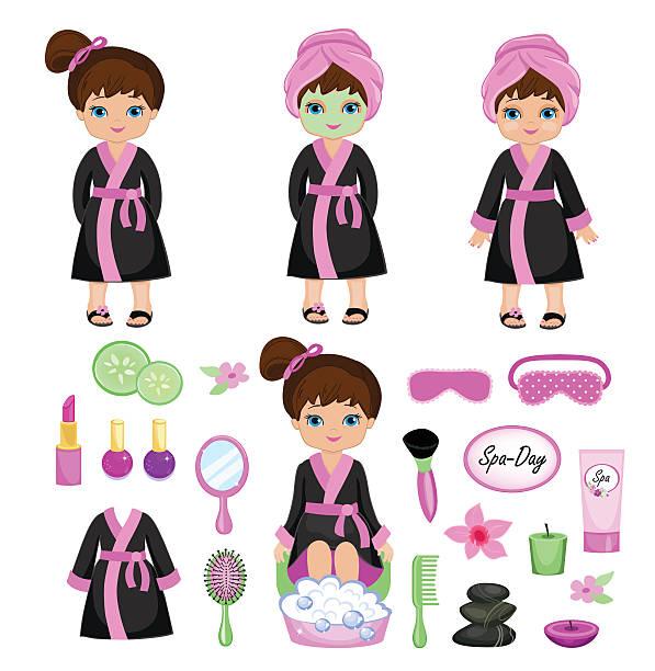 mädchen in einem schwarzen kleid aus spa-behandlungen. - fußpflegeprodukte stock-grafiken, -clipart, -cartoons und -symbole