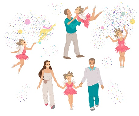 Girl in a fairy costume, performance in the , a fairy-tale character, kids theater with parents. Halloween party. Vector drawing, cartoon character