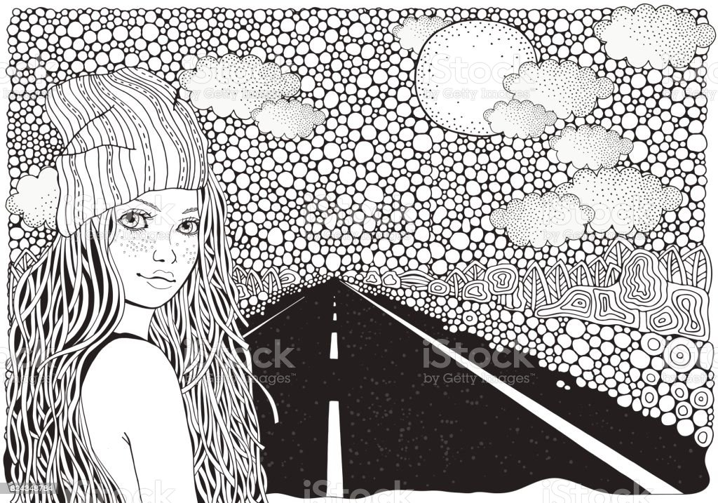 Ilustración de Niña En Un Casquillo Hecho Punto Carretera Coche ...
