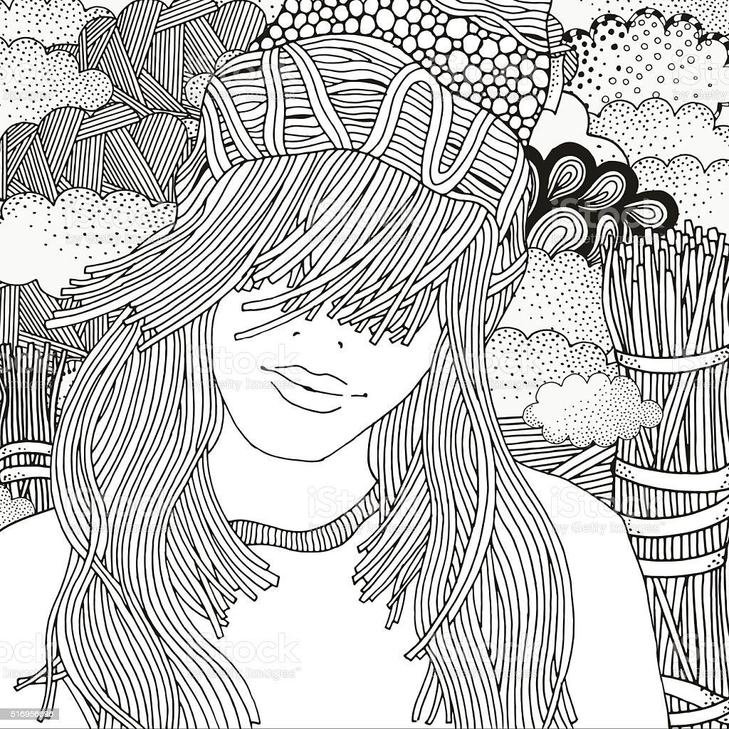 Ilustración de Chica En Un Tejido Tapa Patrón Para Colorear Libro y ...