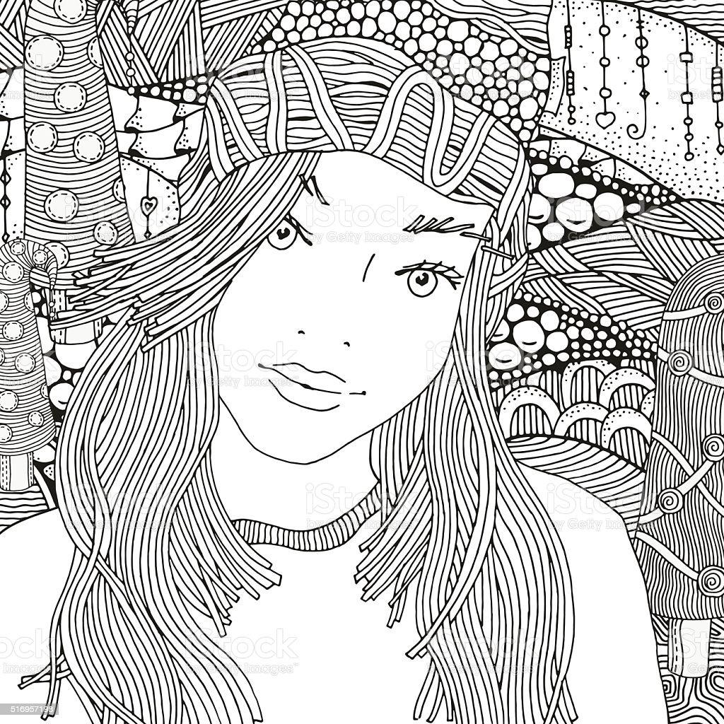 fille dans un bonnet en tricot motif livre de coloriage cliparts vectoriels et plus d 39 images. Black Bedroom Furniture Sets. Home Design Ideas