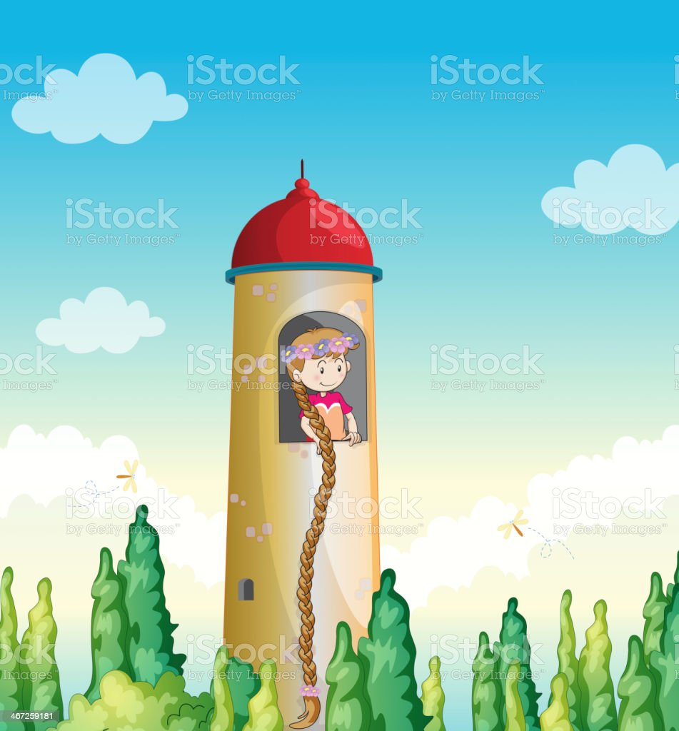 girl in a light house royalty-free stock vector art