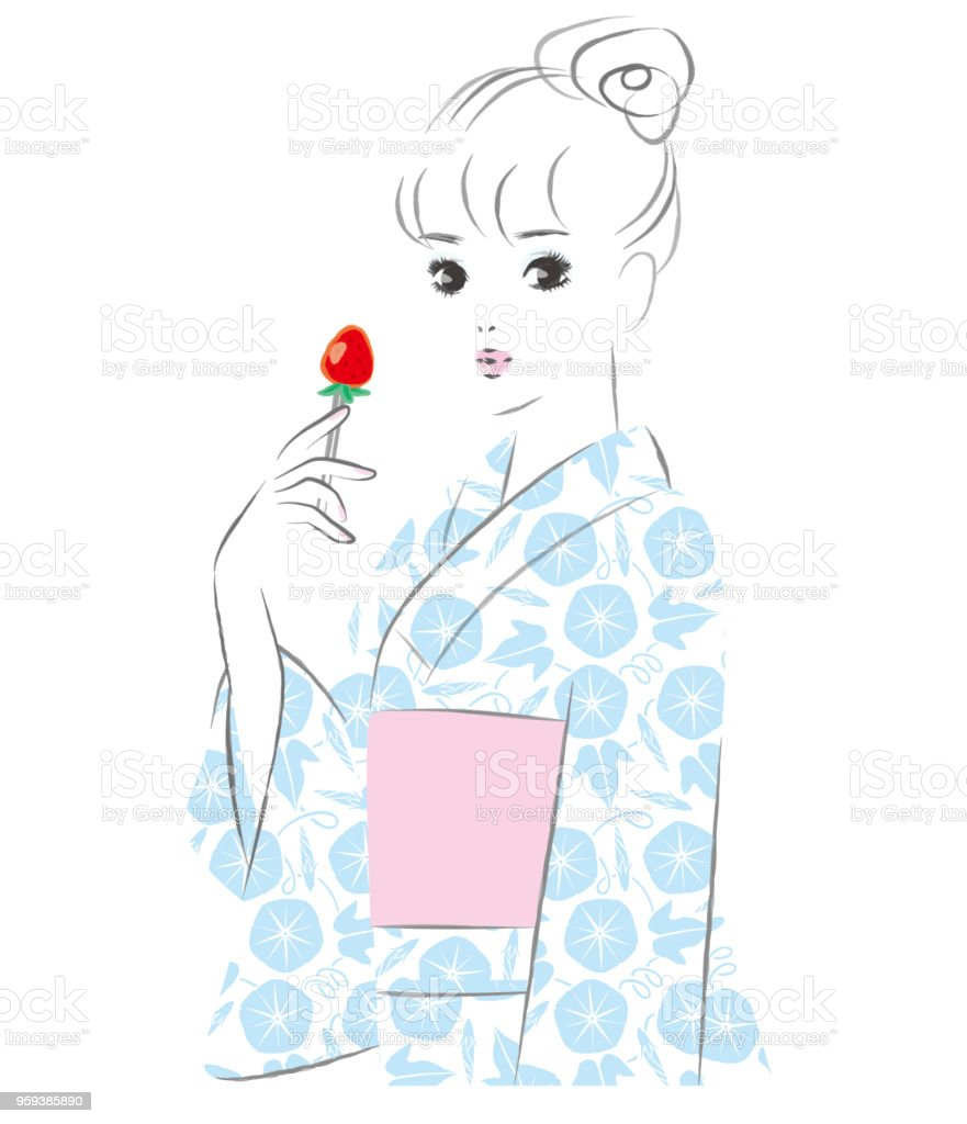 A girl in a morning glory pattern 'Yukata'. 'Yukata' is a Japanese summer traditional costume. vector art illustration