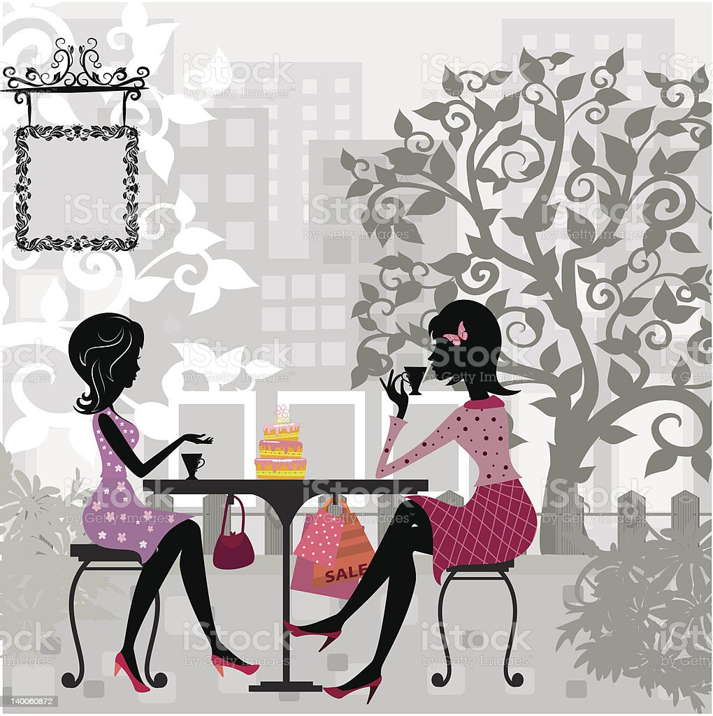 girl in a summer cafe and cake royalty-free stock vector art