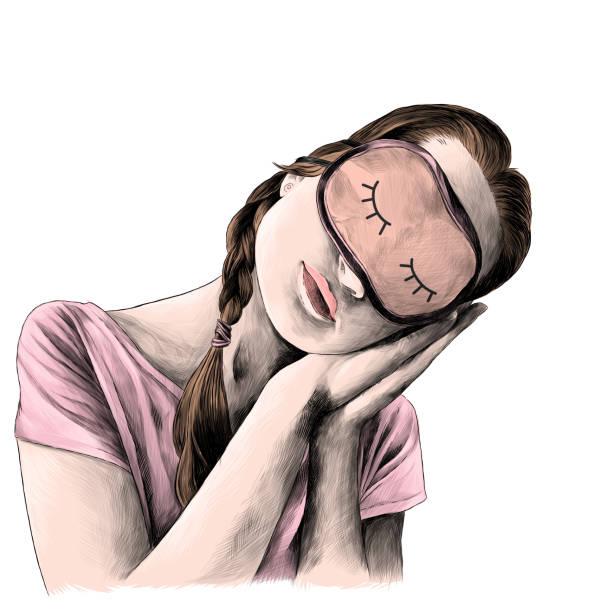 chica en una camiseta con coletas en la cabeza y una máscara para dormir en frente inclina su cabeza y puso sus manos en la actitud de un hombre dormido - ilustración de arte vectorial