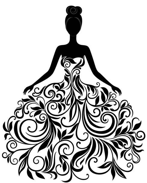 mädchen in einer hochzeit kleid silhouette, eps - rosenhochzeitskleider stock-grafiken, -clipart, -cartoons und -symbole