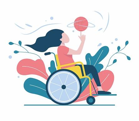 Girl in a wheelchair plays ball