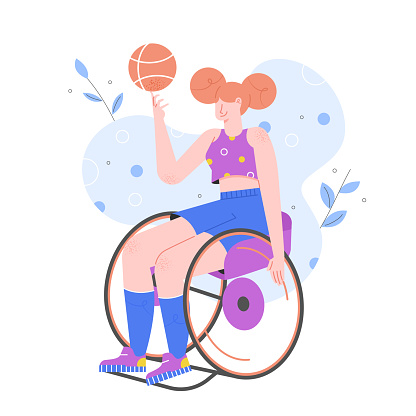 Girl in a wheelchair plays basketball