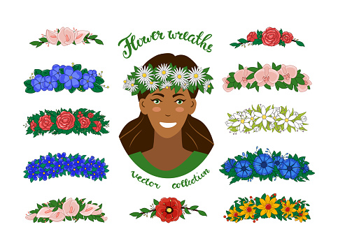 A girl in a wreath of chamomile. A set of floral tiaras. Vector. Objects are isolated.
