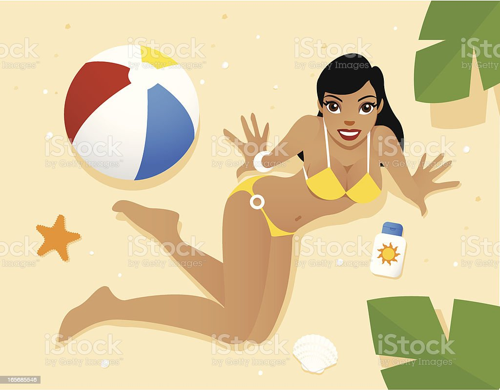 Girl in a yellow bikini looking up royalty-free girl in a yellow bikini looking up stock vector art & more images of adult