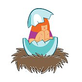 girl in an eggshell in the nest