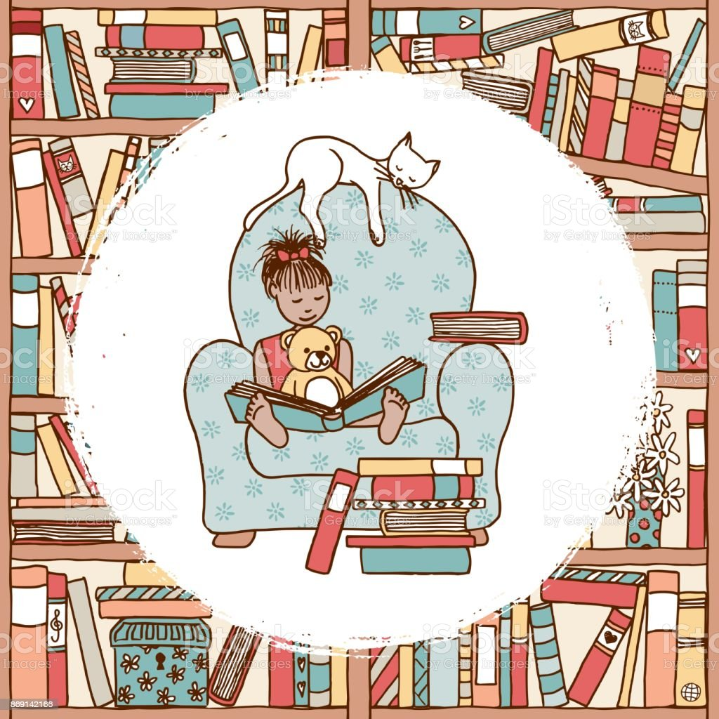 Girl in armchair reading book vector art illustration