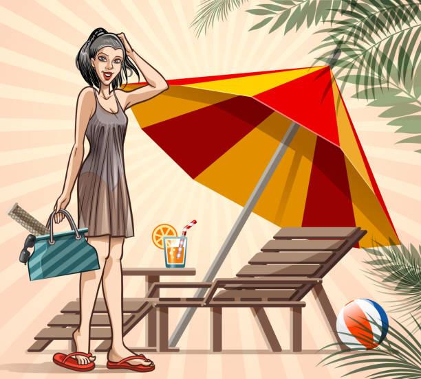 ilustrações de stock, clip art, desenhos animados e ícones de girl in beach - mulher natureza flores e piscina