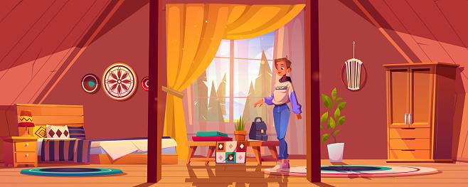 Girl in bedroom in boho style on attic