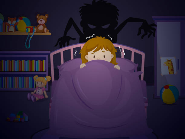 Girl in bedroon with nightmare Girl in bedroon with nightmare illustration bedroom clipart stock illustrations