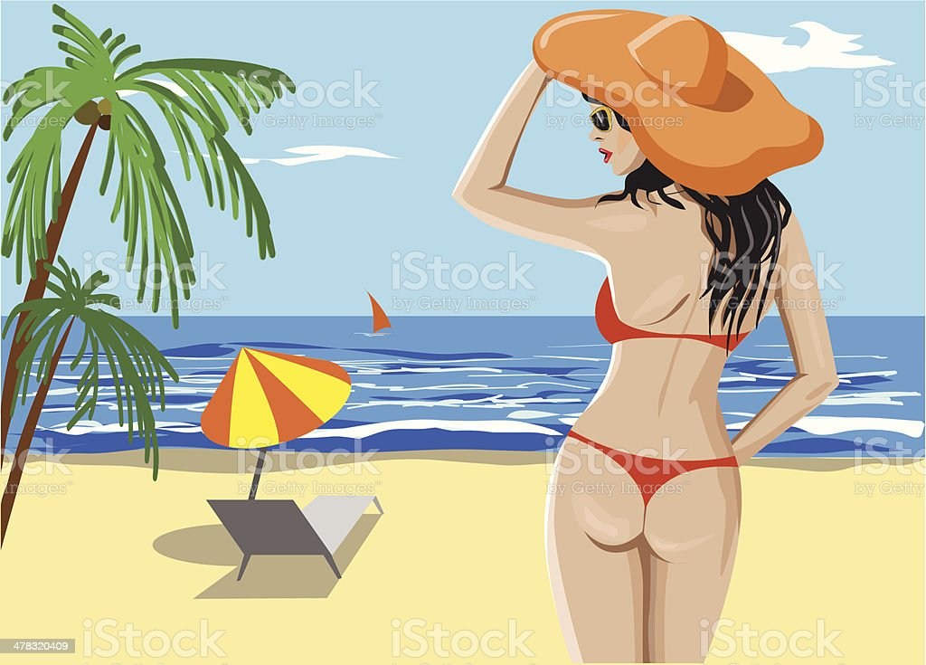 Girl in bikini and hat on the beach royalty-free stock vector art