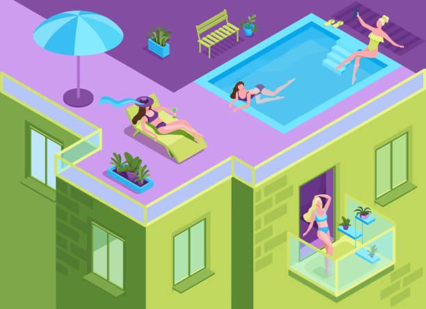 Mädchen im Bikini Sonnenbaden auf dem Dach des Wohnhauses während der Quarantänezeit, Frau immer eine Sonnenbräute am Pool des Mehrfamilienhauses, bleiben Zu Hause Konzept, 3d isometrische Illustration – Vektorgrafik