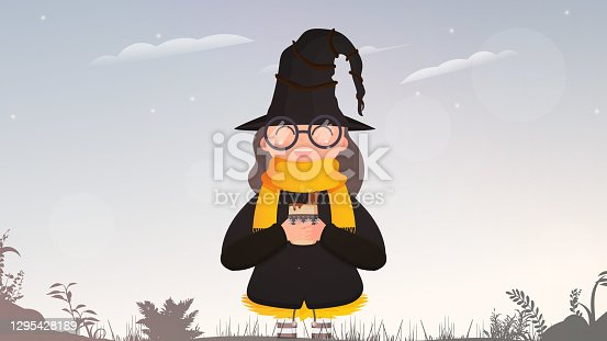 Girl in black suit and hat holding a cup with hot drink. A cute witch with mulled wine is standing in the forest. Halloween concept. Vector.