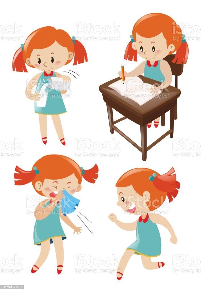 Girl in blue dress doing different actions vector art illustration