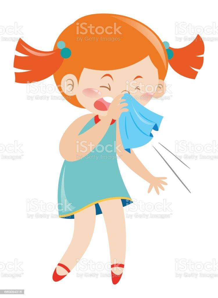 Girl in blue dress sneezing vector art illustration