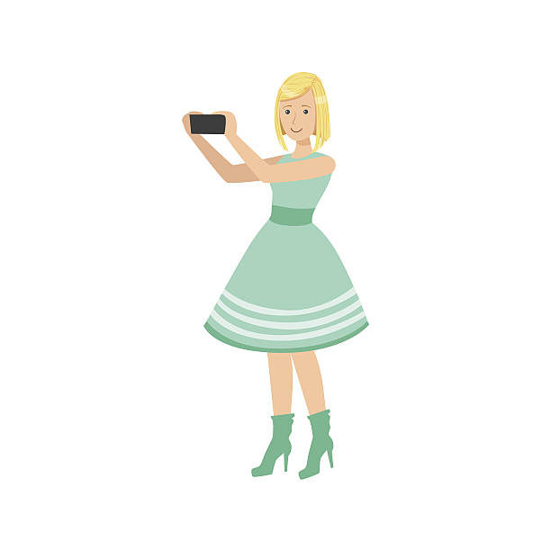 girl in blue dress taking pictures with photo camera - fotoposen stock-grafiken, -clipart, -cartoons und -symbole