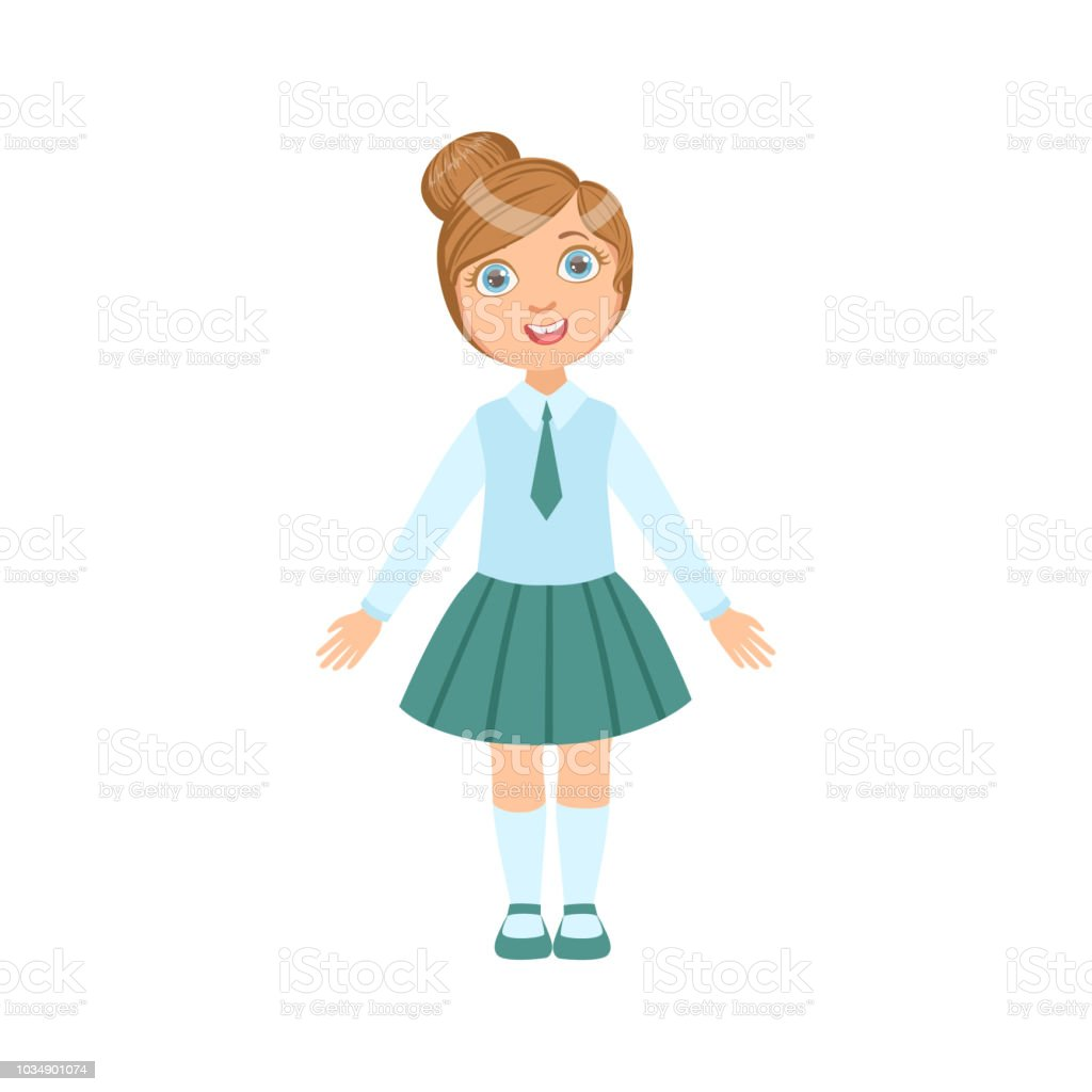 Vetores De Garota Em Cima Feliz Saia E Gravata Azul Em Uniforme