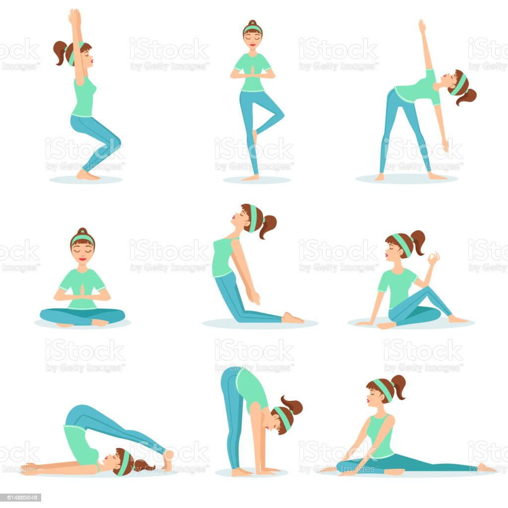 Girl In Blue Training Clothes Demonstrating Yoga Asana Stock Illustration Download Image Now Istock