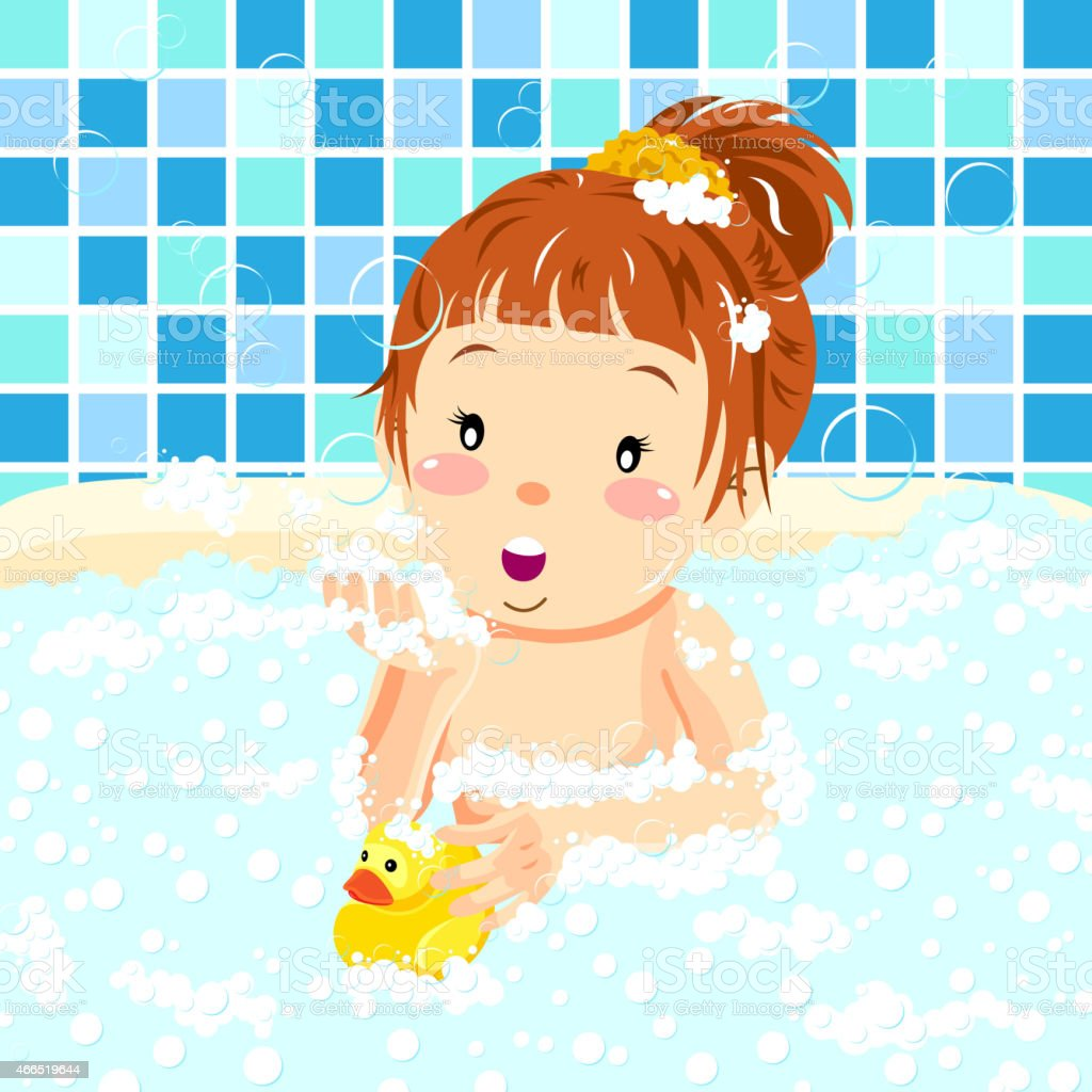 Girl In Bubblebath with Rubber Duck vector art illustration