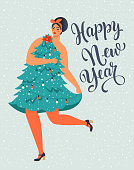 Girl in Christmas Tree Dress Forms. Christmas and Happy New Year illustration. Trendy retro style. Vector design template.