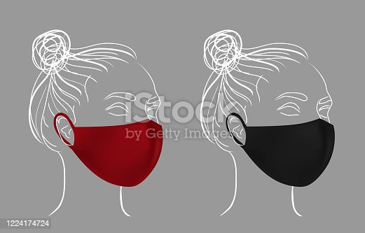 Girl in color protective medical face mask. Line drawing women face