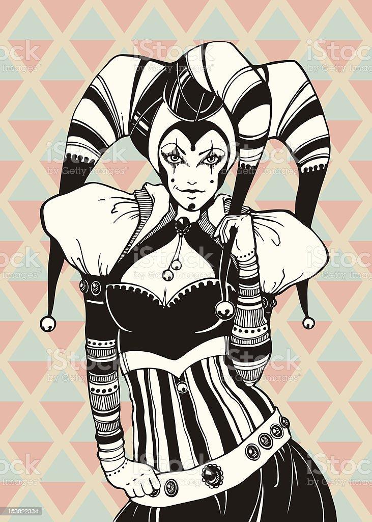 Jeune fille en costume de bouffon - Illustration vectorielle