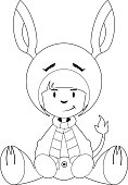 Girl in Donkey Costume Outline